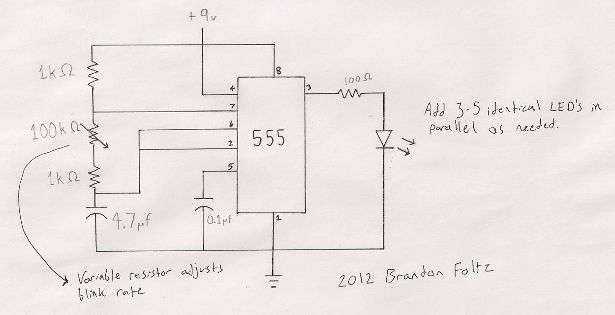 Circuit Diagram For Strobe Light Using 555 Timer Ic T Headlights